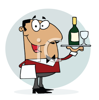 Royalty Free Clipart Image of a Waiter With Wine and a Wineglass