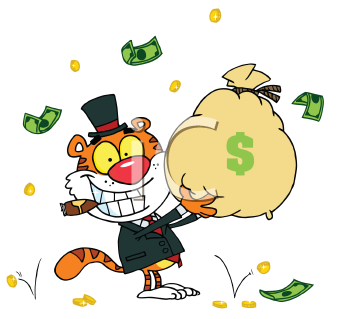 Royalty Free Clipart Image of a Tiger With a Bag of Money