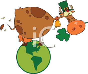 Royalty Free Clipart Image of a Saint Patrick's Day Cow With Shamrocks in His Mouth and Wearing a Hat While Standing on a Globe