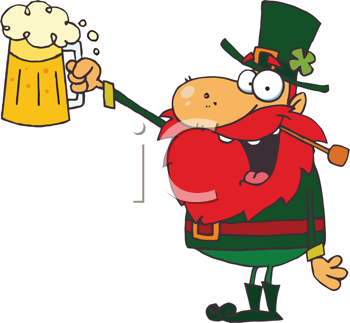Royalty Free Clipart Image of a Leprechaun Toast