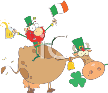 Royalty Free Clipart Image of a Leprechaun Riding a Cow and Holding a Glass of Beer and an Irish Flag