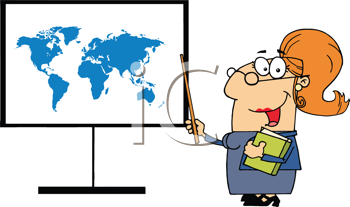 Royalty Free Clipart Image of a Teacher Pointing at a Map of the Earth
