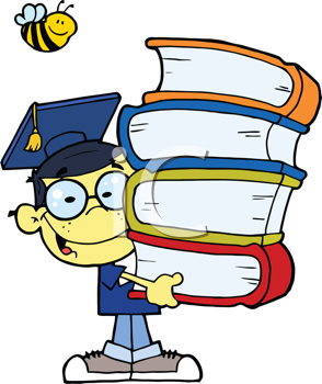 Royalty Free Clipart Image of a Graduating Asian Boy With a Stack of Books and a Bee Over His Head
