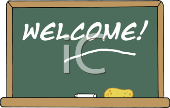 Royalty Free Clipart Image of Welcome Written on a Blackboard