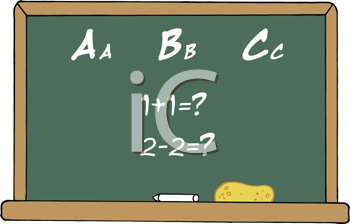 Royalty Free Clipart Image of a Chalkboard With ABCs and Addition