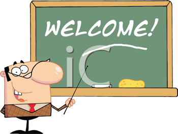 Royalty Free Clipart Image of a Male Teacher With the Word Welcome on the Board