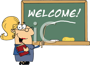 Royalty Free Clipart Image of a Teacher on the First Day of School