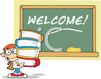Royalty Free Clipart Image of a Student at a Chalkboard With Welcome on It