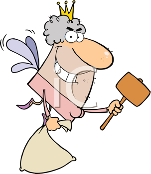 Royalty Free Clipart Image of an Ugly Tooth Fairy With a Bag and a Mallet