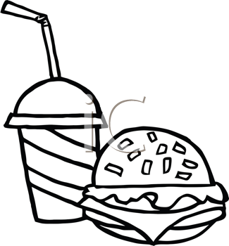 Royalty Free Clipart Image of a Burger and Soft Drink