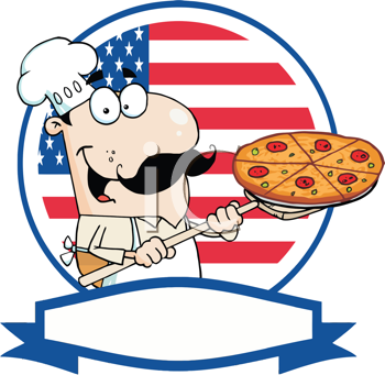 Royalty Free Clipart Image of a Pizza Guy in Front of an American Flag