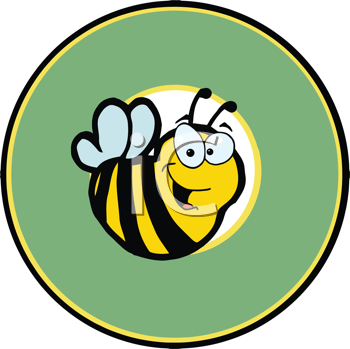 Royalty Free Clipart Image of a Bee in a Circle
