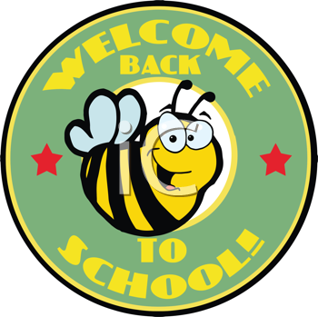 Royalty Free Clipart Image of a Bee on a Welcome Back to School Badge