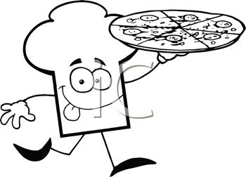 Royalty Free Clipart Image of a Chef's Hat Running With a Pizza