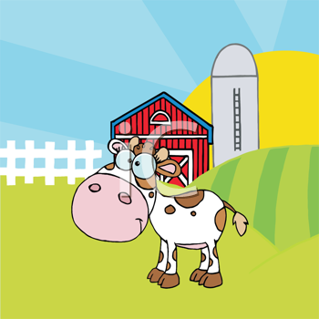 Royalty Free Clipart Image of a Cow in a Barnyard