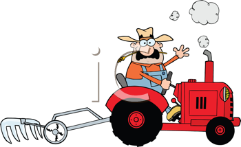 Royalty Free Clipart Image of a Farmer on a Tractor