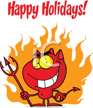 Royalty Free Clipart Image of a Devil on a Happy Halloween Greeting
