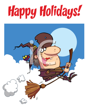 Royalty Free Clipart Image of a Witch Riding a Broom on a Happy Holidays Greetings