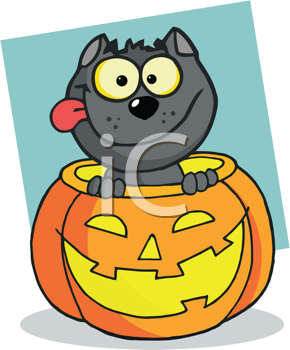 Royalty Free Clipart Image of a Black Cat in a Jack-o-Lantern