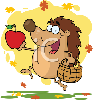Royalty Free Clipart Image of a Hedgehog Running With an Apple