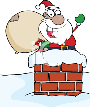 Royalty Free Clipart Image of an African American Santa in a Chimney