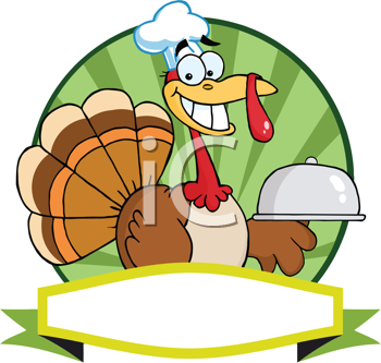Royalty Free Clipart Image of a Turkey With a Domed Plate Over a Banner