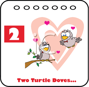 Royalty Free Clipart Image of Two Turtle Doves