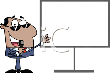 Royalty Free Clipart Image of a Man With a Microphone at a Blank Board