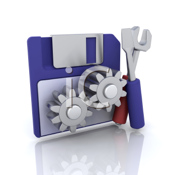 Royalty Free Clipart Image of a Disk With Gears and Tools