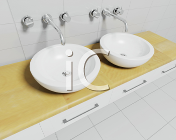 Royalty Free Clipart Image of Two Sinks