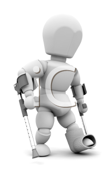 Royalty Free Clipart Image of a Person on Crutches