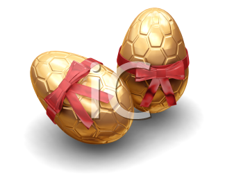 Royalty Free Clipart Image of Two Golden Eggs With Bows