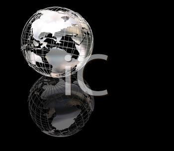 Royalty Free Clipart Image of a Wire Frame Globe