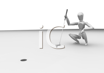 Royalty Free Clipart Image of a Golfer Lining Up a Putt