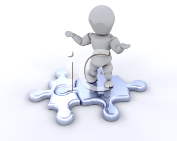 Royalty Free Clipart Image of a Person on Jigsaw Pieces