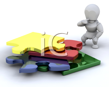 Royalty Free Clipart Image of a Person Looking at Puzzle Pieces