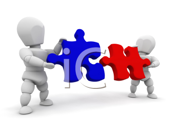 Royalty Free Clipart Image of People With Puzzle Pieces
