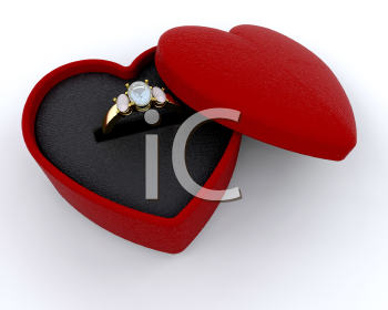 Royalty Free Clipart Image of a Diamond Ring in a Heart Box