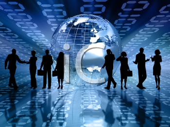 Silhouettes of business people on abstract binary code background
