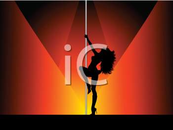 Silhouette of a pole dancer
