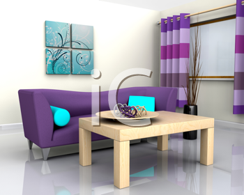 3D render of a contemporary interior and sofa