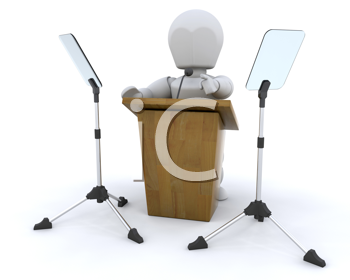 3d render of lecturn and microphone and teleprompter