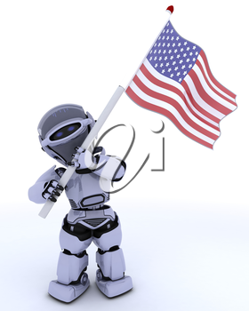 3D render of a robot with american flag