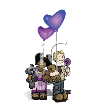 Royalty Free Clipart Image of a Children With Toys and Balloons and Candies
