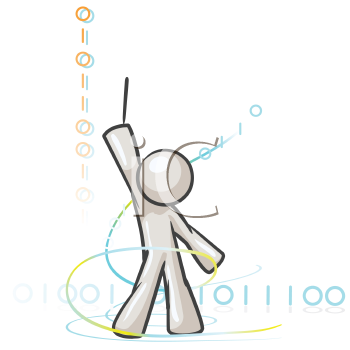 Royalty Free Clipart Image of a Guy With Ones and Zeros Around Him Composing Code Like Music