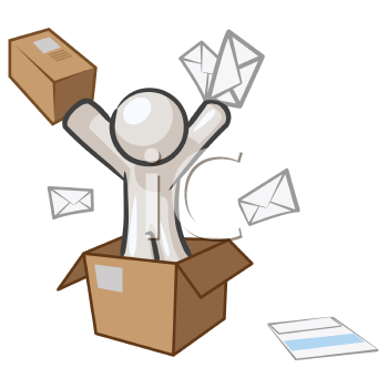 Royalty Free Clipart Image of a Man in a Box Throwing Letters