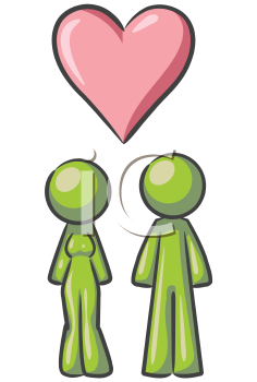 Royalty Free Clipart Image of a Couple and a Heart