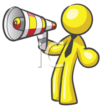 Royalty Free Clipart Image of a Guy With a Megaphone