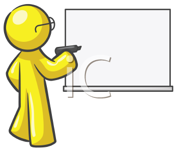 Royalty Free Clipart Image of a Bespectacled Guy at a Board