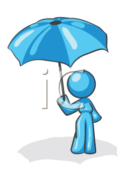 Royalty Free Clipart Image of a Woman Holding an Umbrella